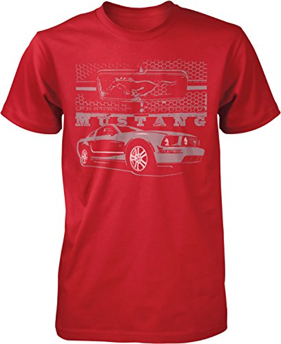 (NOFO Clothing Co Ford Mustang and Grill, Pony Logo Grill Men's T-Shirt, L Red)