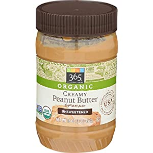 365 by Whole Foods Market, Organic Peanut Butter, Creamy – No Sugar Added, 16 Ounce