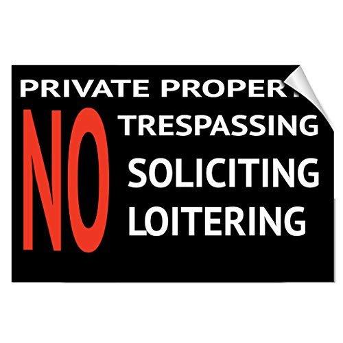 Etiqueta adhesiva de vinilo de la propiedad privada, sin pegamento, con texto en inglés'No Trespass Soliciting Loitering',...