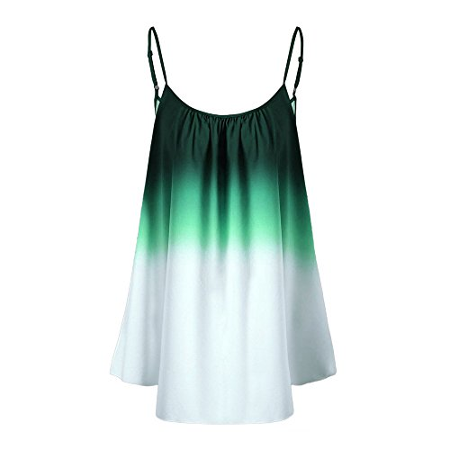 FarJing Hot Sale Women's Casual Gradient Sleeveveless Ombre Cami Top Trim Tank Top Blouse (M,Green) (Figure Economy Set)