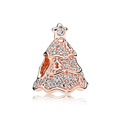 - Romántico Amor Christmas Tree Charms Clear &Muti-Color CZ &Rose Gold Silver Bead fit Pandora Bracelets