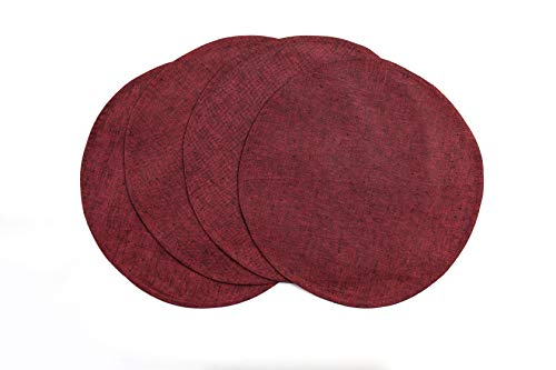 Solino Home Round Linen Placemat - Red Garnet, Set of 4, 15 Inch Pure Linen Natural Fabric, 100% European Flax - Handcrafted Machine Washable Indoor & Outdoor Tablemat