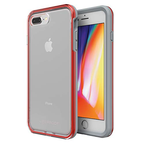 Lifeproof SLAM Series Case for iPhone 8 Plus & 7 Plus (ONLY) - Retail Packaging - Lava Chaser (Clear/Cherry Tomato/Sleet) (Renewed)