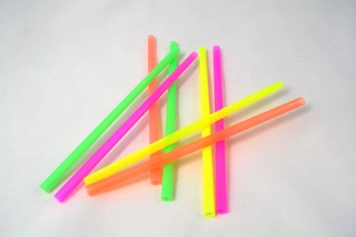 8 extra thick neon colored straws - 8