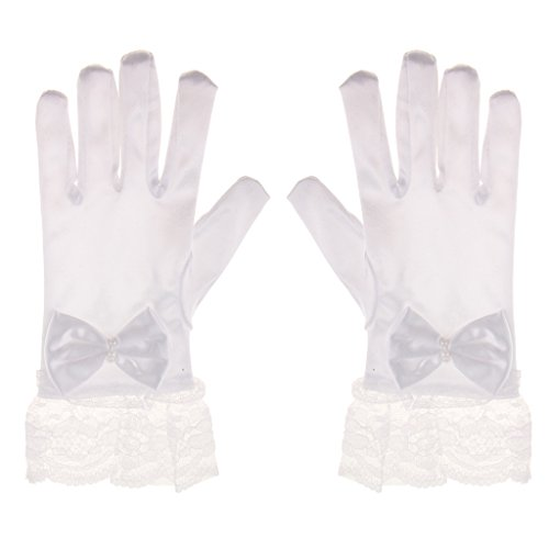 画面可能性ストローKesoto 1ペア入り 結婚式 最初の聖体拝領 誕生日、ダンス 女の子 短い手袋 花柄  サテン リボン レース 柔らかい 可愛い 手袋