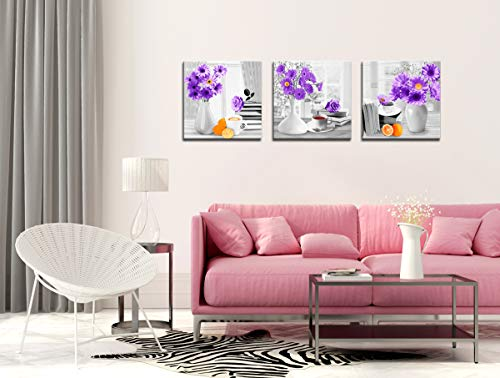 Purple paintings for living room