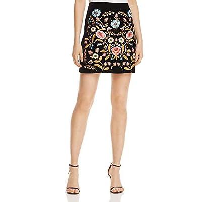 Lucy Paris Womens Velvet Embroidered Mini Skirt