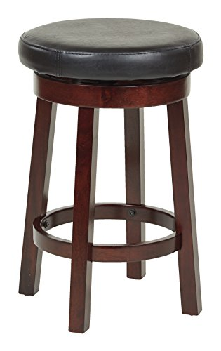 OSP Designs 24″ Metro Round Barstool in Black Faux Leather