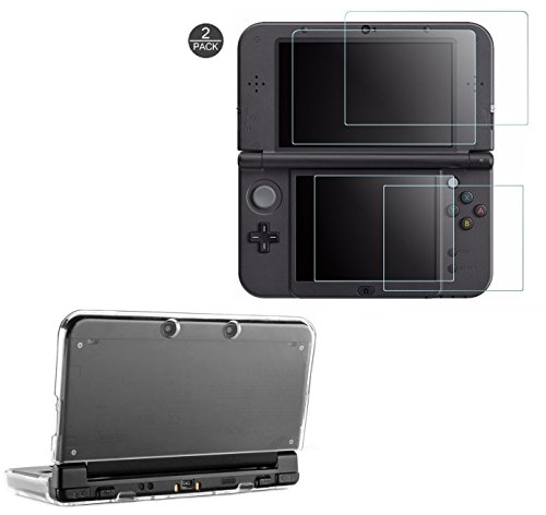Taisioner PC Crystal Protective Case with 2pcs 9H Screen HD Protector Kit for Nintendo NEW 3DS XL