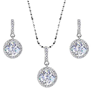 EVER FAITH 925 Sterling Silver CZ Gorgeous Round Cut Wedding Pendant Necklace Earrings Set