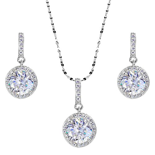 EVER FAITH 925 Sterling Silver CZ Gorgeous Round Cut Wedding Pendant Necklace Earrings Set Clear