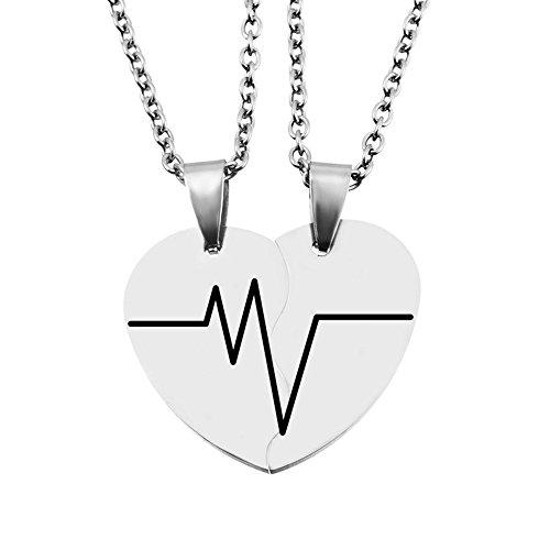 MJartoria Split Valentine Heart Rhinestone Best Friends Engraved Pendant Friendship Necklace Set of 2 (Heartbeat) by MJartoria