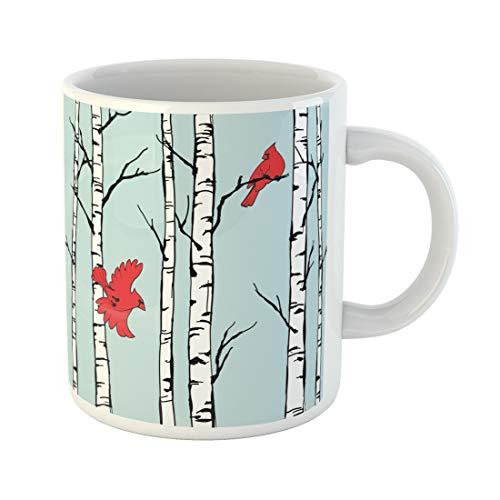 Semtomn Funny Coffee Mug Cardinal Birds Sitting on and Flying Among Birch Trees 11 Oz Ceramic Coffee Mugs Tea Cup Best Gift Or Souvenir]()