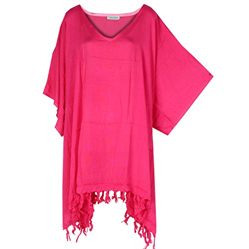 Tropicalsale Women's Plus Size Plain Simple Hot Pink Caftan Tunic Hippy Top