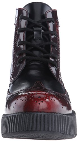 T.U.K. Shoes Mens Womens Burgundy Rub-Off Black Brogue Viva Creeper Boot Red