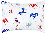 Toddler Pillowcase 13x18 by Comfy Turtles, 100% Cotton, or Get Your Kid's Smile with Cute Animals of This Soft Hypoallergenic Pillow Cover (Horses Toy with Blue)