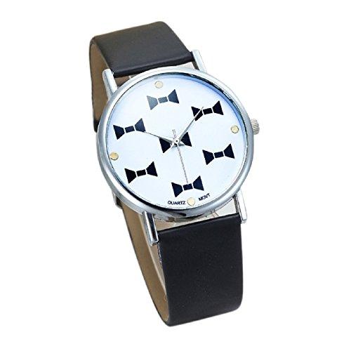 Womens Butterfly Style Leather Band Analog Quartz Wrist Watch Black - 7