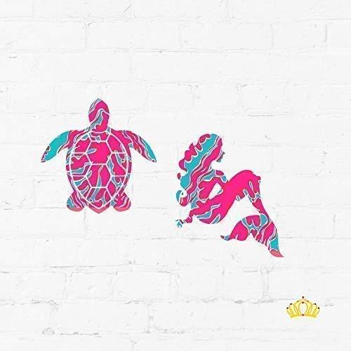 amazon com set of 2 mermaid and sea turtle pattern vinyl decal