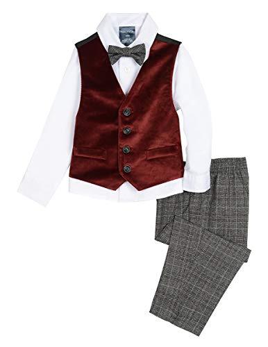 Nautica Boys' Baby 4-Piece Formal Dresswear Vest Set with Bow Tie, Velvet Dark red, 24 Months ()