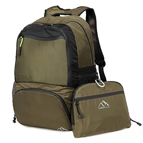 VASCHY Hiking Backpack, Lightweight Water Resistant Collapsible Foldable Packable Travel Backpack with Chest Strap Green