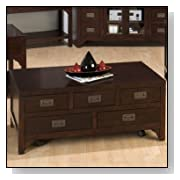 Jofran Rectangle Garnett Cherry Wood Storage Coffee Table with Drawers