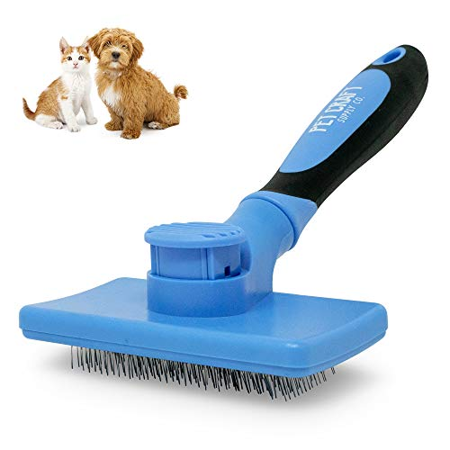 Pet Craft Supply Self Cleaning Slicker Pet Grooming Brush for Dogs and Cats with Short to Long Hair, Removes Mats, Tangles and Loose Hair
