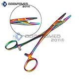 OdontoMed2011 Multi Titanium Rainbow Color Hemostat with Scissors 5.5'' Stainless Steel Multi Color Rainbow Color Olsen Hegar Needle Holder ODM