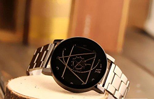 Amsion Marea aguja de la brújula Reloj Hombre Acero inoxidable Moda cuarzo  analógico reloj de pulsera (negro)  Amazon.es  Electrónica 716e46061fde