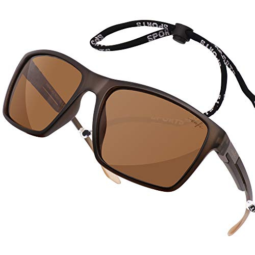 HD Fishing Polarized Sunglasses for Men Driving Running Golf Sports Glasses Square UV Protection Designer Style Unisex Matte Brown (Best Polarized Sunglasses For Fishing 2019)