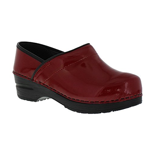 Sanita Patent Wide Red in Patent Leather (Red Patent Leather Danskos)