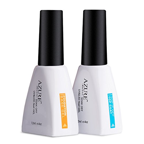 Uv Gel Nail Polish Starter Kit: Azure Beauty Top Coat Base Coat Gel Polish Soak Off LED UV