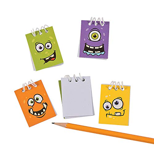 Face Stationery - Fun Express - Monster Face Mini Notepads for Halloween - Stationery - Notepads - Notepads - Halloween - 48 Pieces