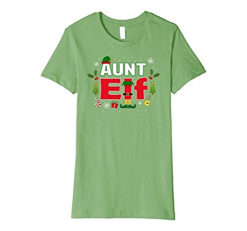 [Womens Aunt Elf Legs Funny Christmas Costume T-Shirt Santa Helper XL Grass] (Jolly Green Santa's Helper Christmas Costumes)