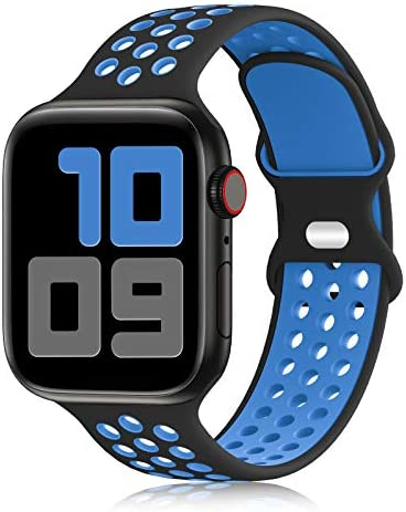 YAXIN Sport Band Compatible for Apple Watch Bands 38mm 40mm 42mm 44mm, Breathable Soft Silicone Sport Replacement Strap Women Men Compatible with iWatch Series SE/6/5/4/3/2/1, Sport Edition, S/M M/L