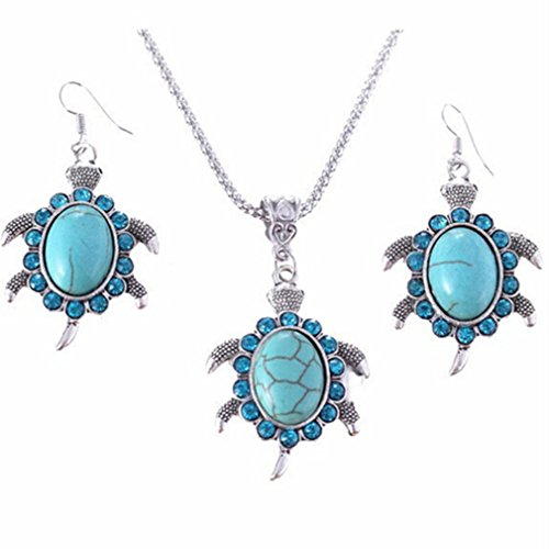 Meolin Women Jewelry Natural Stone Strass Turtle Shaped Pendants Retro Necklace Sweater Chain Necklace and Earrings Set (Rings Strass)