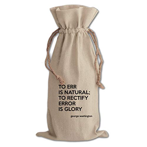 Error Is Glory (George Washington) Cotton Canvas Wine Bag, Cotton Drawstring