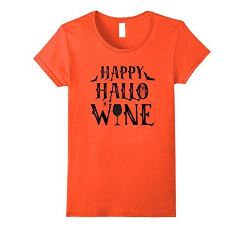 [Womens Happy Hallo Wine Funny Adult Halloween Costume T-Shirt Medium Orange] (Simple Halloween Costumes Scary)