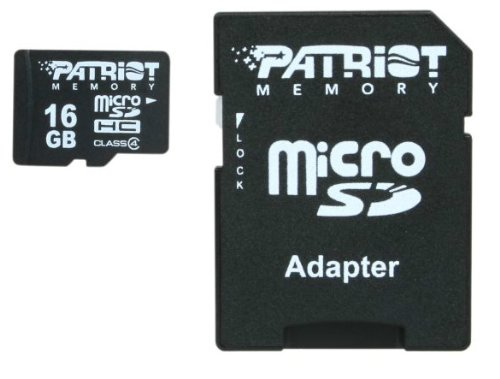 Patriot 16GB Class 4 Micro SDHC With SD Adapter For Smartphone & Camera- PSF16GMCSDHC43P