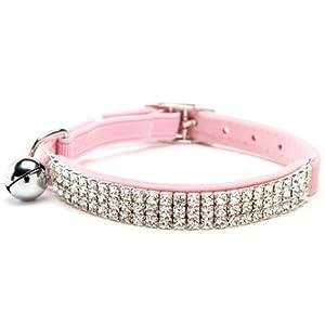 BINGPET Adjustable Cat Collar Soft Velvet Safe Collars Bling Diamante with Bells , Pink