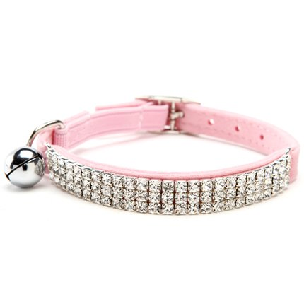 BINGPET Adjustable Cat Collar Soft Velvet Safe Collars Bling Diamante with Bells , Pink