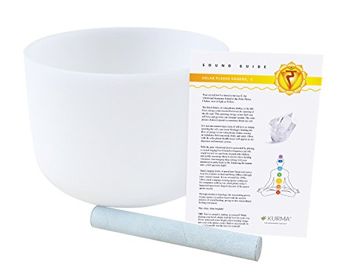 432 hz Solar Plexus Chakra Crystal Singing Bowl E Note 10 Inch, Suede Mallet Included, Highest Quality Sound and Material by Kurma Yoga