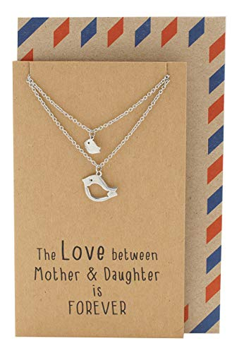 Quan Jewelry Mother Daughter Bird Necklace Set for 2, Birthday Gifts for Mom, Animal Charm for Mommy, Grandmom and Expectant Young Women, with Inspirational Quote on Greeting Card