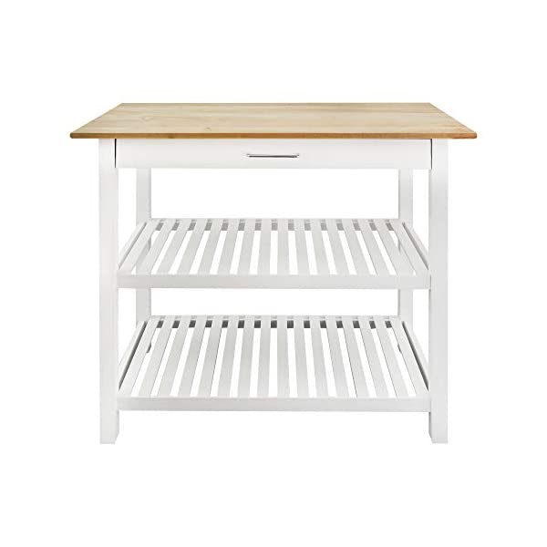"""Casual Home Kitchen Island with Solid American Hardwood Top, Natural/White, 40"""" W (373-91)"""