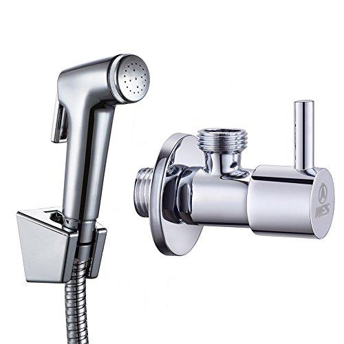KES Handsprühkopf Shataff für Toilette/Bidet mit Absperrventil und Wandhalterung, poliertes Chrom