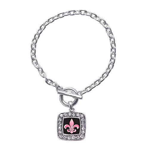 Inspired Silver - Fleur De Lis Toggle Charm Bracelet for Women - Silver Square Charm Toggle Bracelet with Cubic Zirconia ()