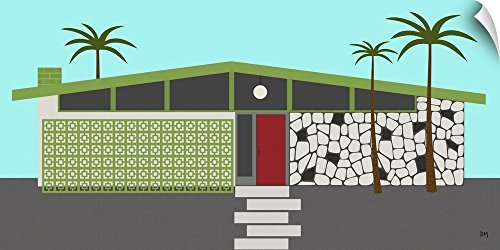 Canvas on Demand Donna Mibus Wall Peel Wall Art Print Entitled Mid Century House 4 (Palm Tree Bubble Lamp)