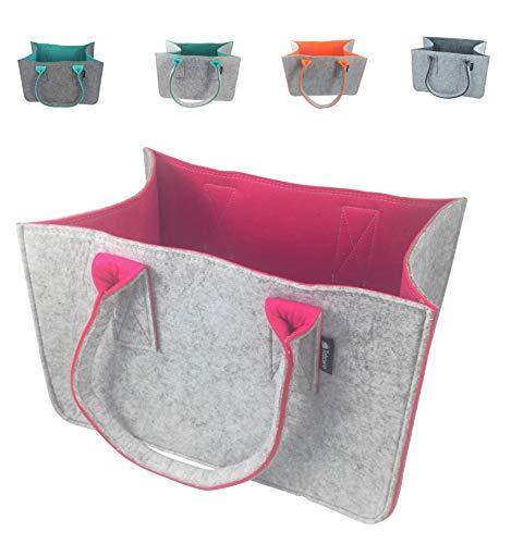 Shopping-Bag aus Filz-Stoff, große Einkaufs-Tasche mit Henkel, Einkaufskorb, faltbare Kaminholztasche zur Aufbewahrung von Holz, vielseitige Tragetasche für Spielzeug, Farbe grau (grau/magenta)