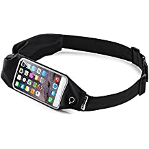 Top Fit Running Belt for Men + Women, Dual Pockets with Touch Screen, Holds all IPhones + Accessories, Completely Comfortable Running Belt for Running or Hiking. New (Dual Bag)