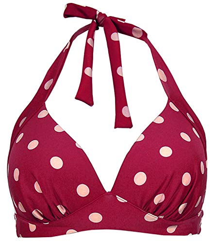 Balasami Women's Retro 50s Plaid Pattern Polka Dot Halter Molded Soft Pads Vintage Bikini Swimsuits Tops (L, Burgundy Polka Dot) Brown Polka Dot Bikini