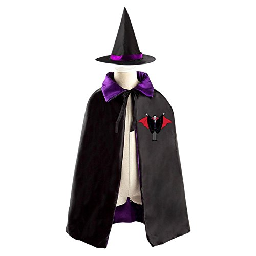 Vampire Lord Cartoon Print Halloween Satin Witch Cloak for Boys and Girls
